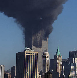 Face in smoke from World Trade Center fire, 9-11-01